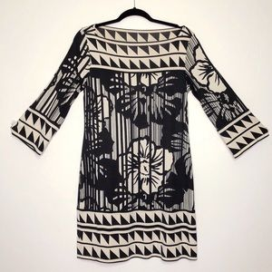 DVF Silk Stretch Boat Neck Midi Dress 3/4 Sleeve
